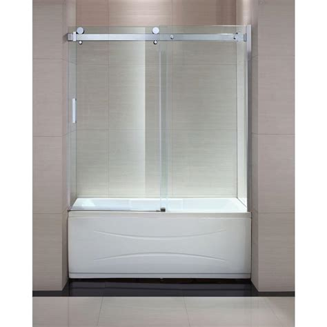Tub With Shower Doors Schon Judy 60 In X 59 In Semi Framed Sliding Trackless Tub And Shower Door In Chrome With