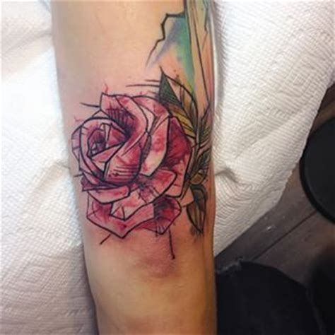 geometric tattoo with color water color geometric roses tattoo google search rib