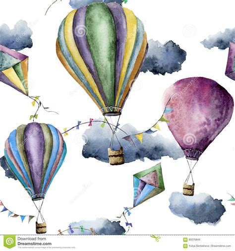 watercolor pattern with air balloons and clouds stock watercolor pattern with hot air balloons and kites hand