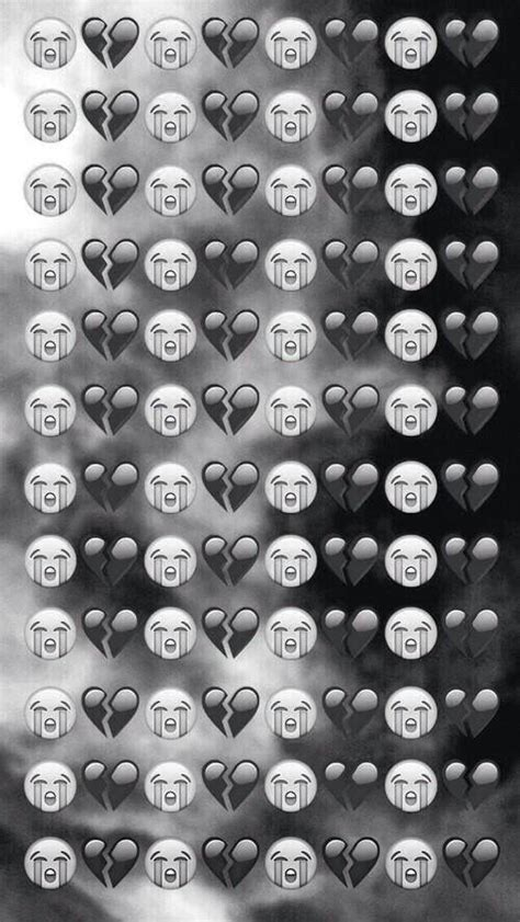 white wallpaper emoji black and white broken cry emoji heart image