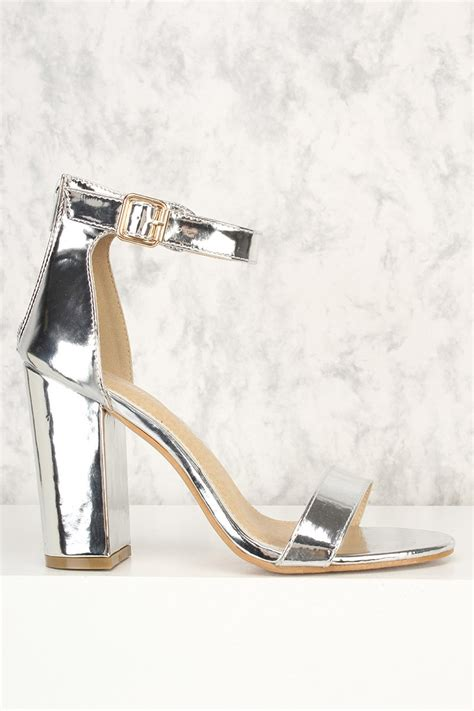 Sandal Wedges Wanita Silver Js 335 silver open toe chunky high heels patent faux leather