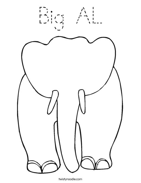 alabama elephant coloring page big al coloring page tracing twisty noodle