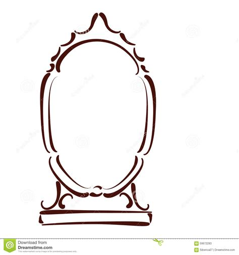 mirror will template sketched mirror stock vector image 59672283