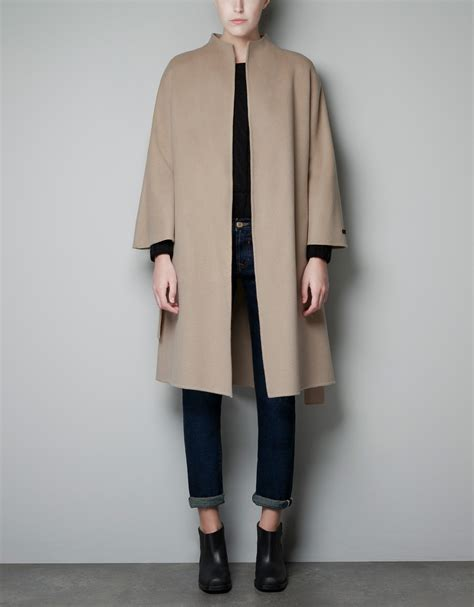 Handmade Coats - zara made coat in beige camel lyst