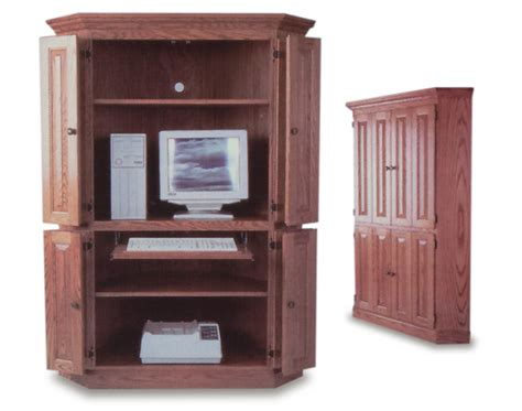 corner computer armoire amish office furniture sugar
