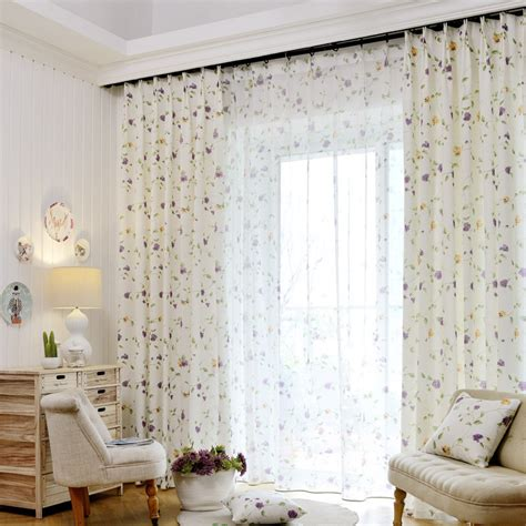 White Floral Curtains Discount White Floral Print Linen Pastoral Curtain Panels