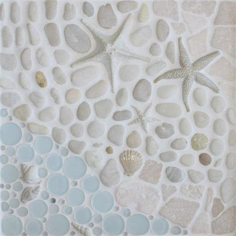 Kitchen Tile Designs Behind Stove As The Tide Goes Out Tile Glass Shell Mosaic Beach Diy