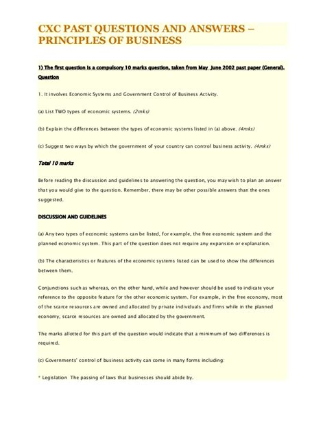Cxc Past Questions And Answers Principles Of Business
