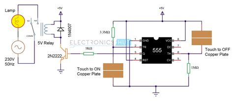 touch on and switch circuit diagram and working