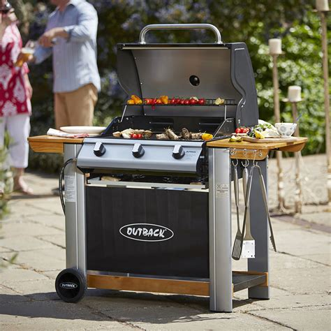 spectrum 3 the best outback spectrum 3 burner hooded bbq barbecue promotions gt best sellers garden buildings direct