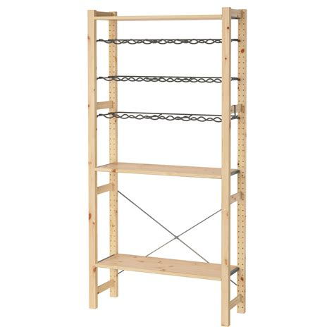 Ivar 1 Section Shelves Bottle Racks Pine Grey 89x30x179 Cm Ikea Wood Shelves