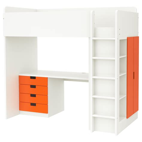 ikea bed drawers stuva loft bed combo w 4 drawers 2 doors white orange