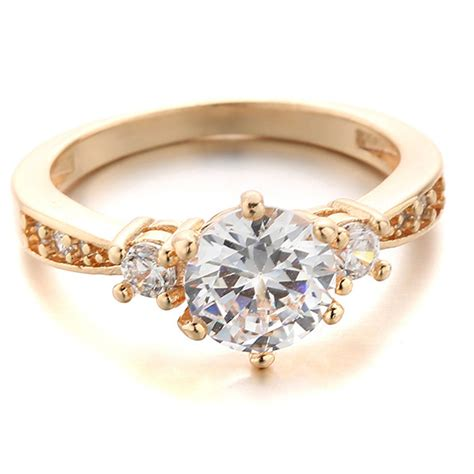 1pcs 2015 trendy simple design ring with zircon - Simple Gold Engagement Ring Designs 2015