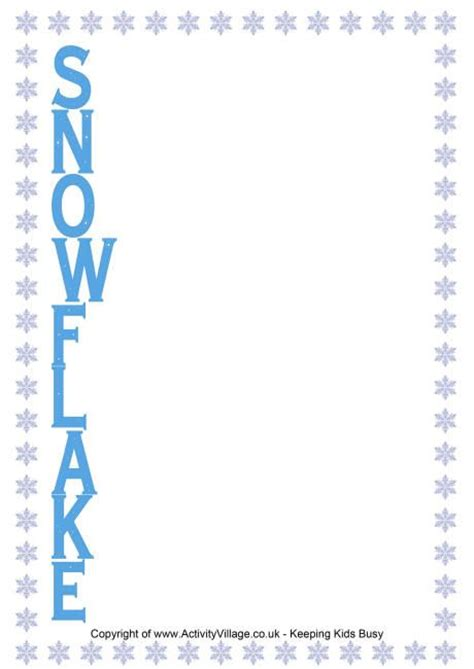 snowflake pattern to write on snowflake acrostic poem printable makes a useful writing