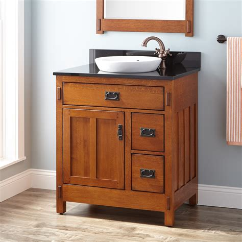 30 Quot American Craftsman Vanity For Semi Recessed Sink Rustic Oak Bathroom Vanities