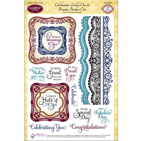 Justrite Papercraft - justrite papercraft clear sts celebrations labels one