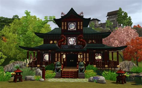 home design a japanese style house with pagoda roof in mod the sims house of the red dragons