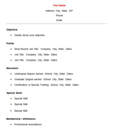 Resume Basics Format by 70 Basic Resume Templates Pdf Doc Psd Free