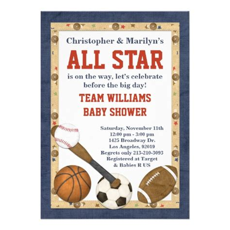 sports baby shower invitations templates sports all baby shower invitation 5 quot x 7 quot invitation