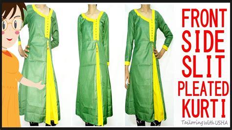 churidar cutting pattern jpg demo front side slit pleated kurti cutting and stitching diy