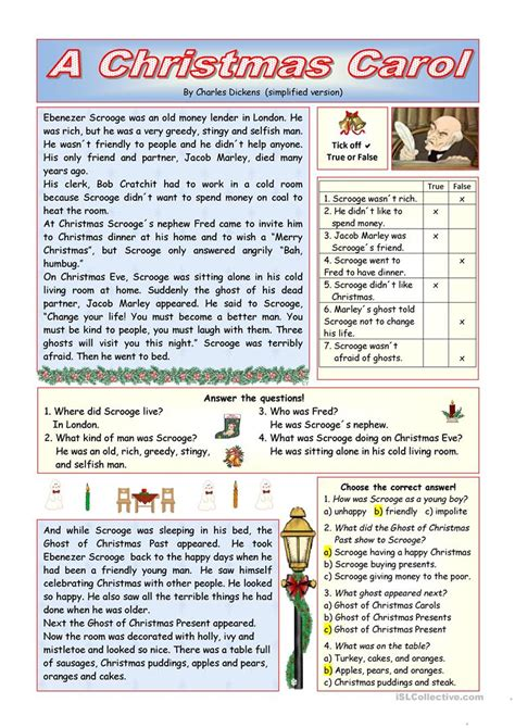 exercises with keys free english materials for you quot a christmas carol quot simplified version key included
