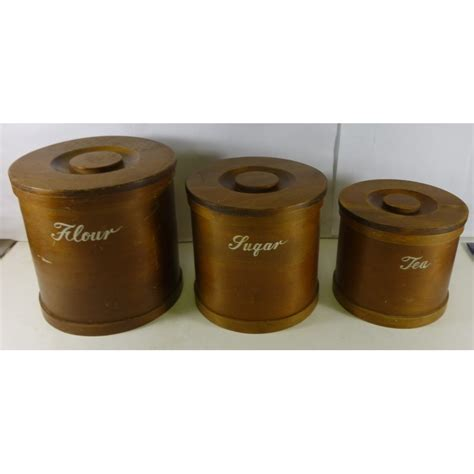 kitchen canister set of 3 in solid timber treats