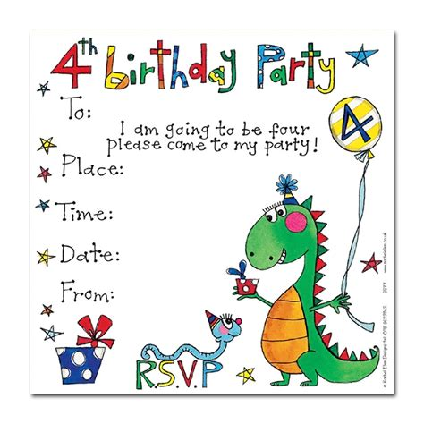 Invitation Fourth Birthday Card Templates by 4th Birthday Dinosaur Invitation Cards Invitations