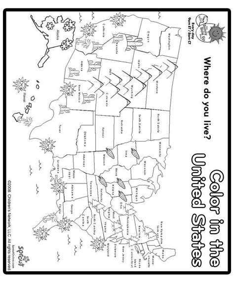 Print And Color Us Map Coloring Page Social Studies Us Map Coloring Page