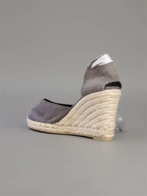 grey sandal wedges castaner espadrille wedge sandal in gray lyst