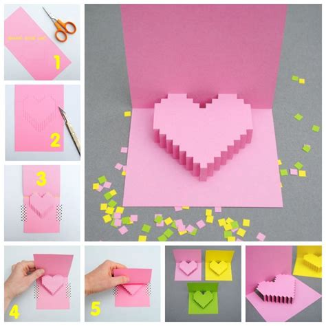card diy ideas creative ideas diy pixel popup card popup