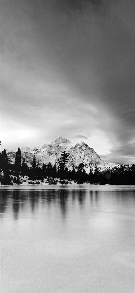 ni frozen lake winter snow wood forest cold bw dark