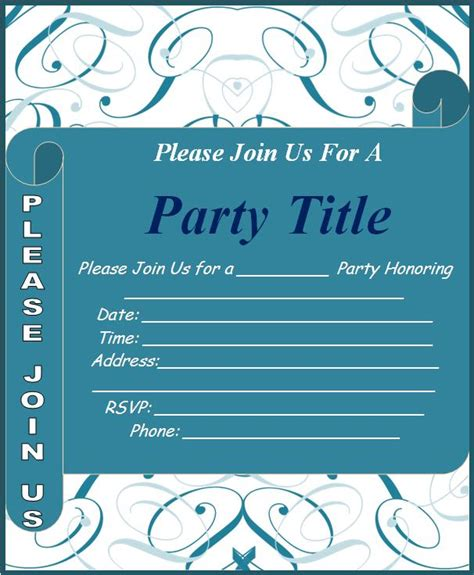 Word Invitation Template by Invitation Templates Free Word S Templates