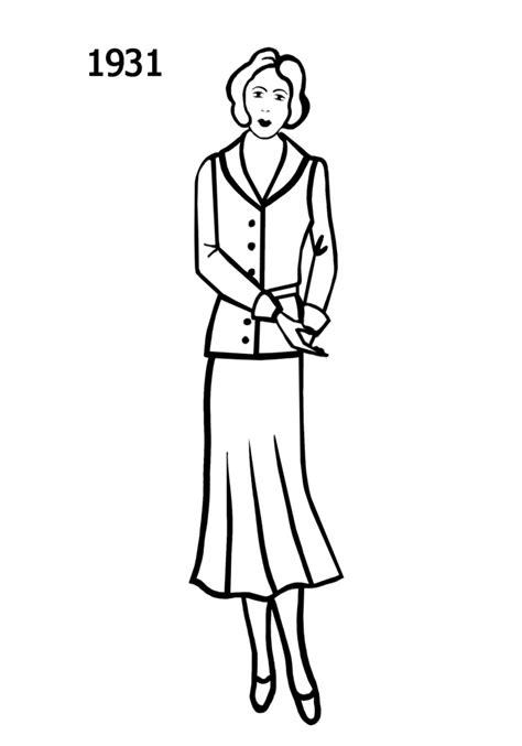 Costume Silhouettes 1930-1932 Free Line Drawings - Fashion