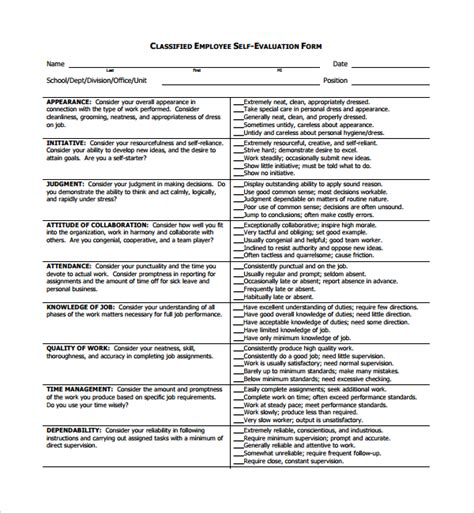 self appraisal form template sle employee self evaluation form 5 free documents