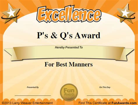 templates for office awards free funny award certificates templates sle
