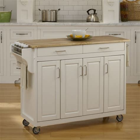 kitchen island with casters shop home styles 48 75 in l x 17 75 in w x 34 75 in h white kitchen island with casters at lowes