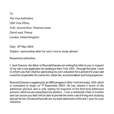 Visa Sponsorship Letter For Parents exles of sponsor letters for confirmation sponsor
