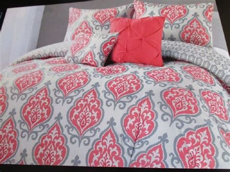 coral and white bedding cynthia rowley coral gray and white medallion 4pc twin xl comforter set twin xl
