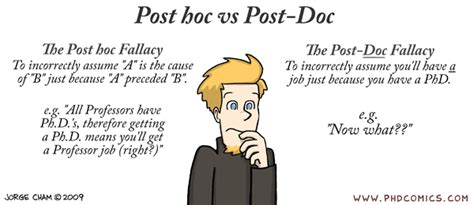 Mba After Phd In Sciences by Phd Comics Post Hoc Vs Post Doc