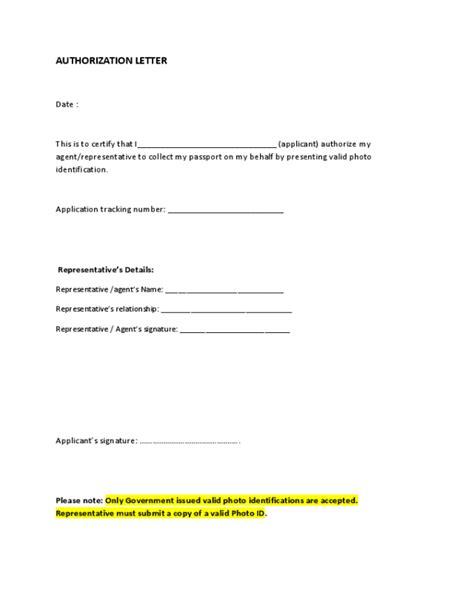 Authorization Letter With Id passport collection authorization letter edit fill