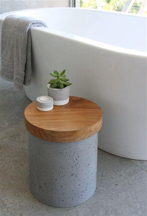 bathtub side table concrete side table stool bath sidetable timber top