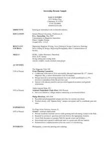 College Internship Resume Exle by Resume Format For Internship Student