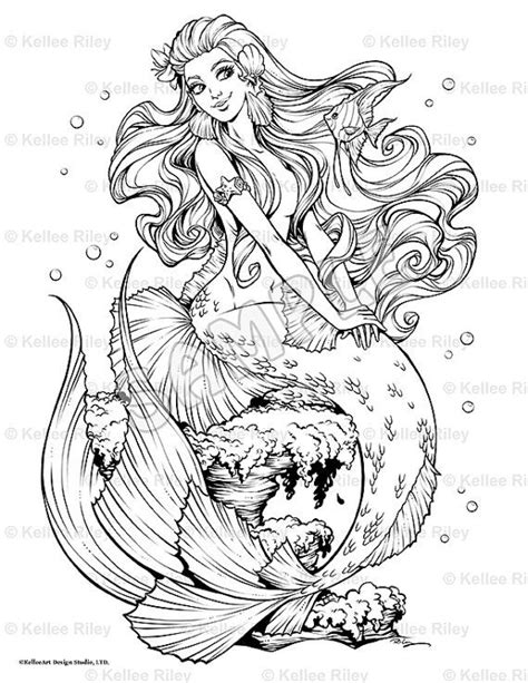 adult mermaid with long hair by lian2011 coloring pages fishy friends adult coloring page fantasy mermaids anti