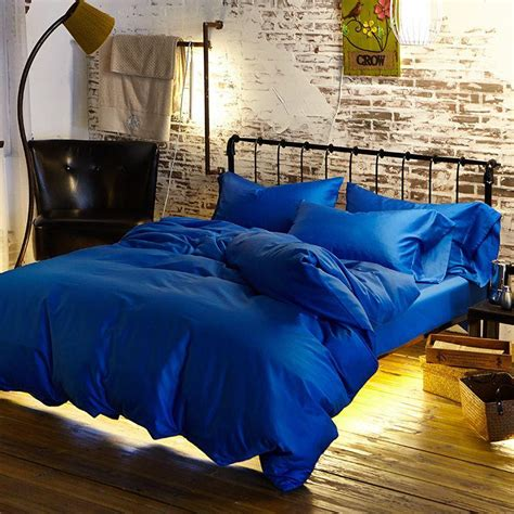 Clarin House White Bedcover Set King Size royal blue duvet cover sweetgalas
