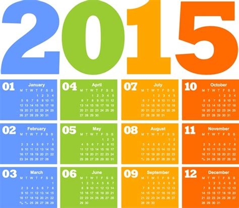 design your calendar 2015 free 2015 color calendar design vector graphics my free