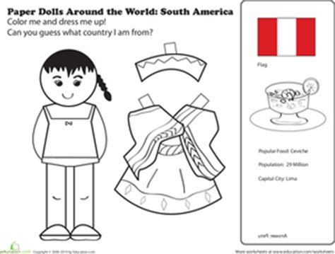 printable paper dolls from around the world paper dolls around the world latin america ii worksheet