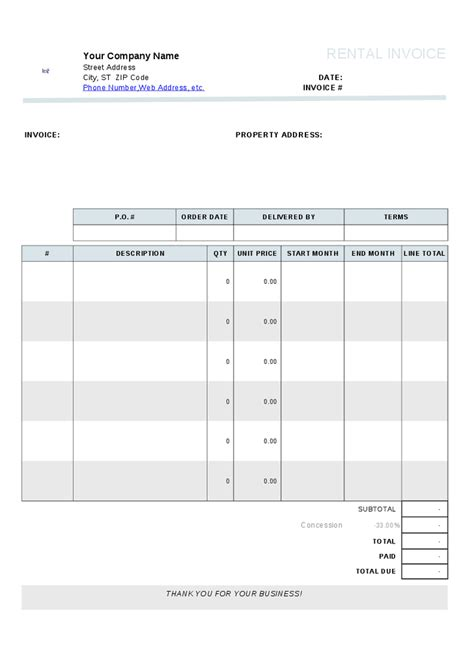 free rental invoice template house apartment or property rental bill and invoice