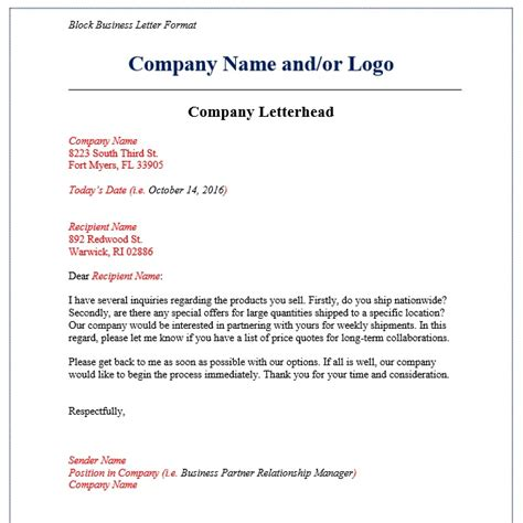 Type A Business Letter Block Style 7 Business Letter Format Exles Templates Assistant