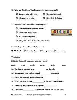 genre quiz multiple choice by kristin reinhardt tpt the school mural reading comprehension test quiz second