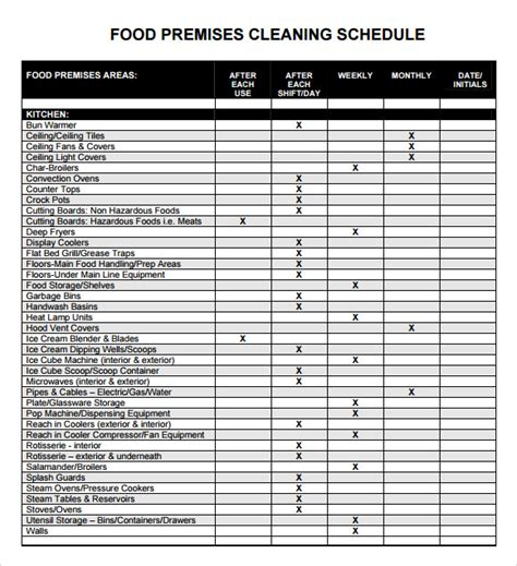 5 Sle Cleaning Schedules Sle Templates Cleaning Schedule Template For Office